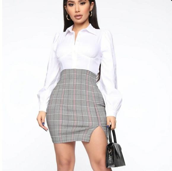 Plaid A Fool Mini Dress - White/Black